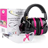 TRADESMART BUILT TRADE TOUGH Tradesmart Pink Ear Muffs & Clear/Tinted Gun Safety Glasses - UV400 Anti Fog & Anti Scratch with Microfiber pouch | Gun Range Ear Protection & Eye Protection for Shooting