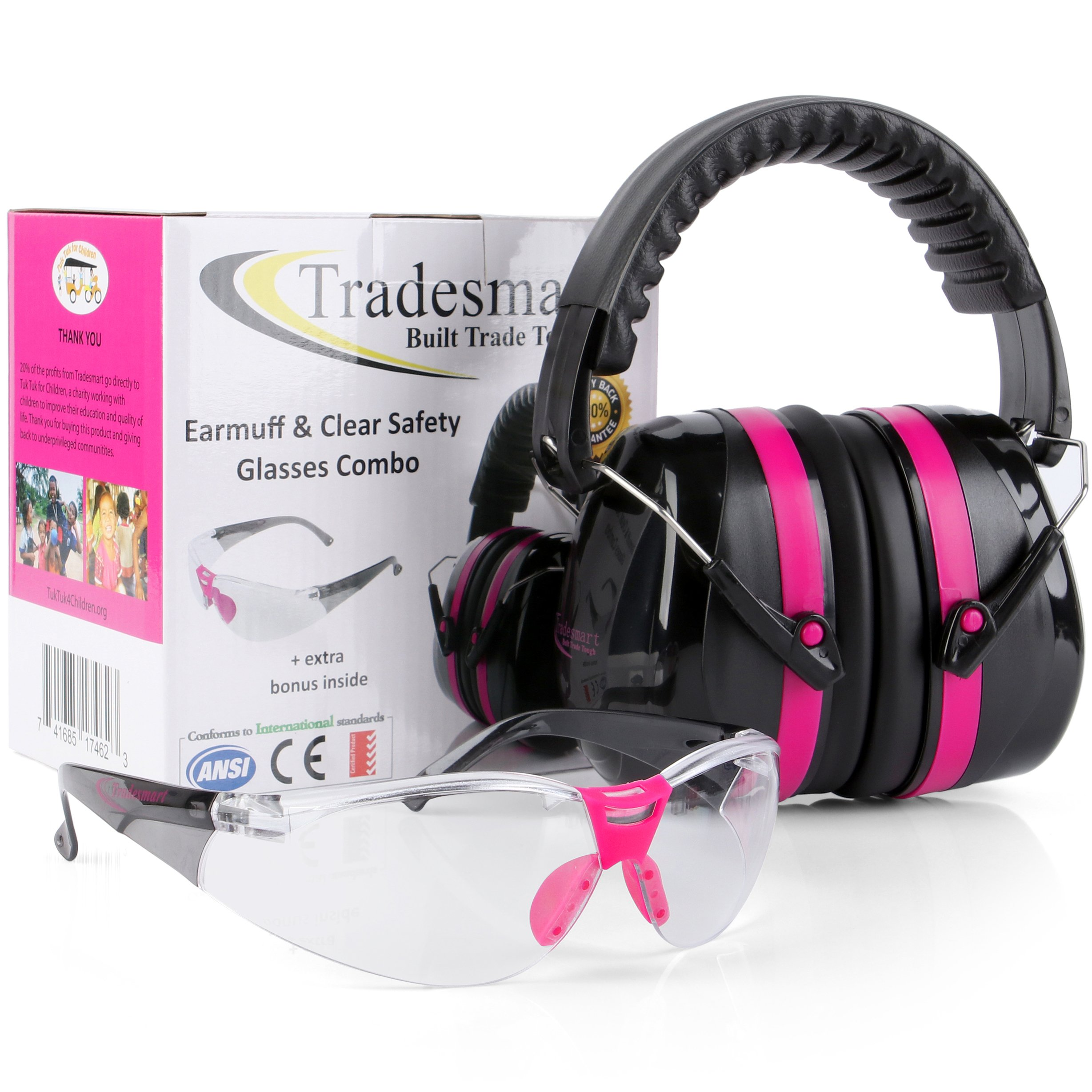 TRADESMART Pink Shooting Earmuffs & Clear Safety Glasses - 2 Piece Gun Range Safety Kit. Designed for Complete Protection & Style. Compact Design Fits in Hunting Bag. 20% of Profits Support Charity by TRADESMART BUILT TRADE TOUGH