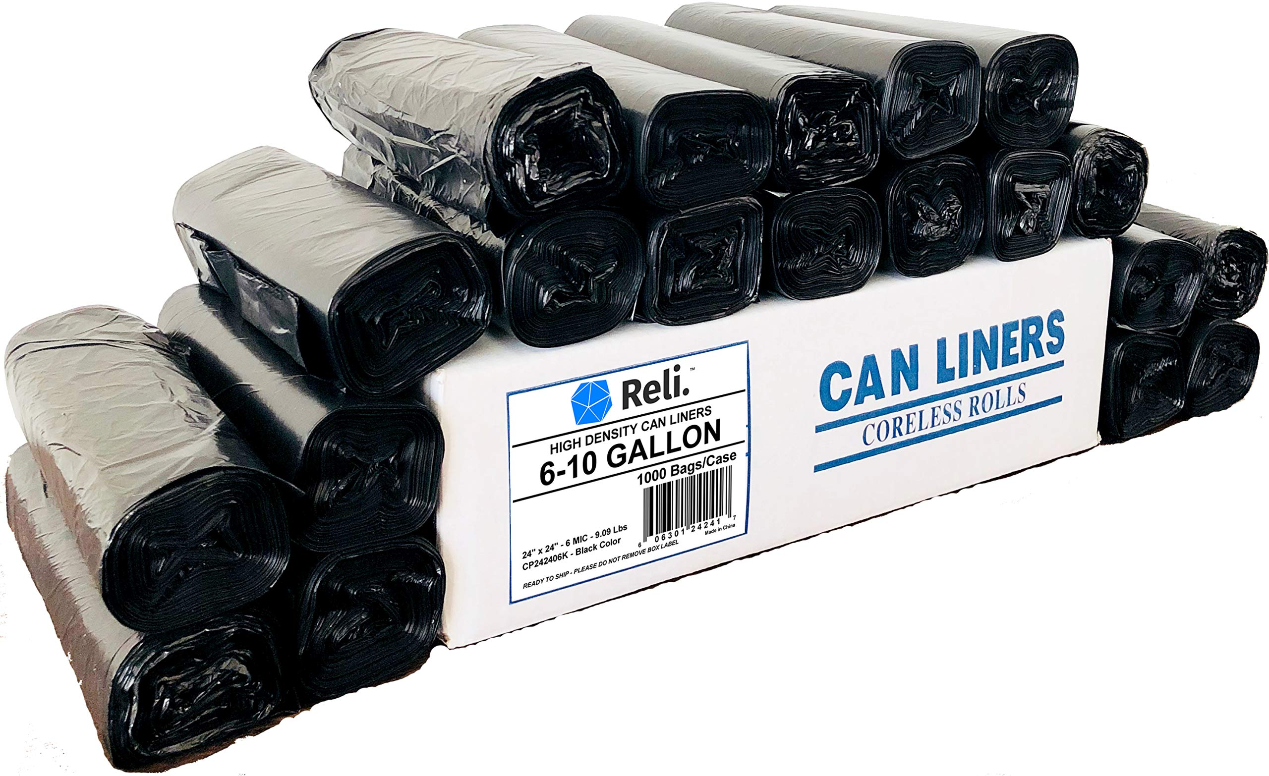 Reli. 6-10 Gallon Trash Bags, Black (1000 Count, Bulk) Black 10 Gallon Garbage Bags with 6 Gal, 7 Gallon, 8 Gallon Capacity - Black Trash Liners 10 Gallon in Bulk by Reli.
