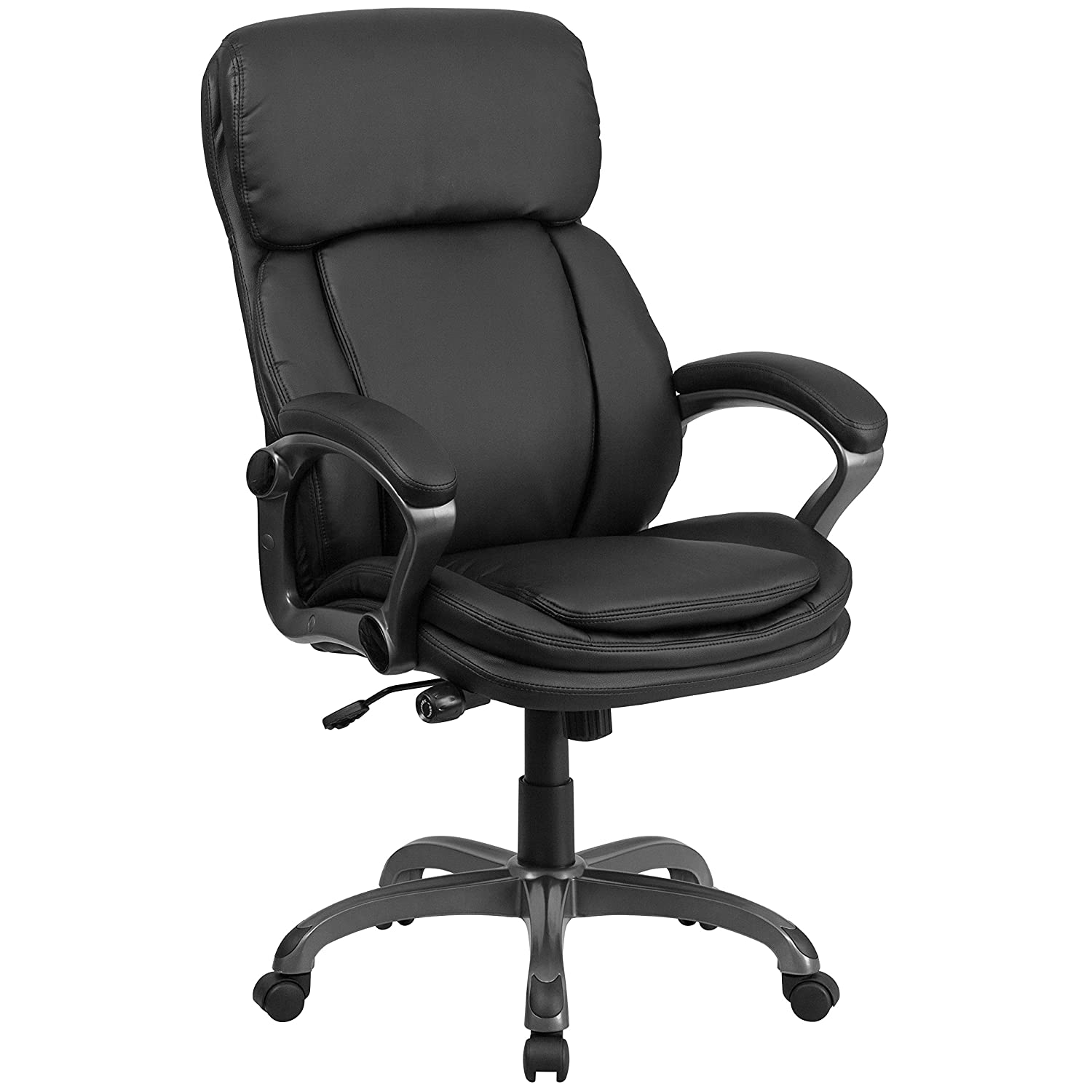 Flash Furniture High Back Black Leather Executive Swivel Ergonomic Office Chair with Lumbar Support Knob with Arms