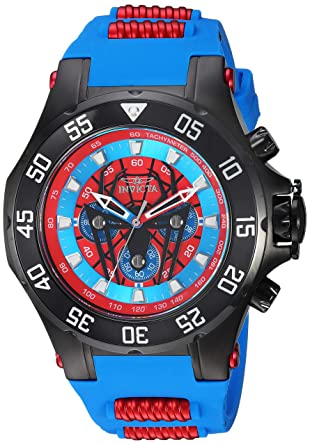 Invicta Mens Marvel Stainless Steel Quartz Watch with Silicone Strap, Blue, 24.4 (Model