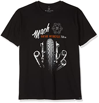 MAKAYA Motorbike Accessories for Men - Vintage Motorcycle T-Shirt Black S