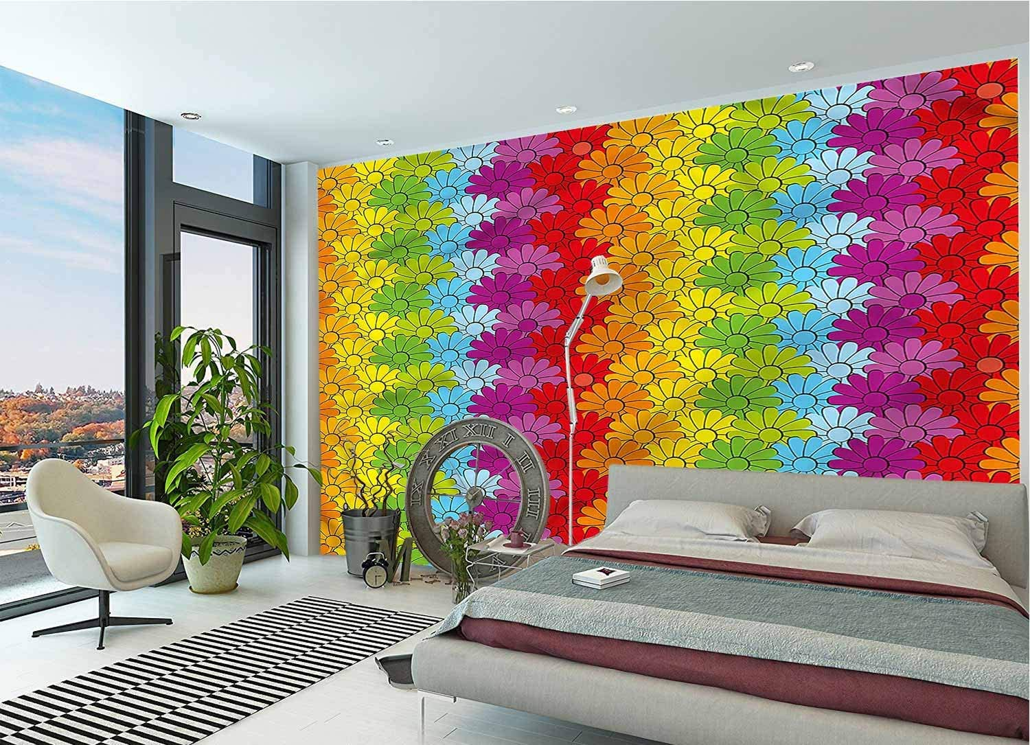 LCGGDB Floral Wall Mural Decal,Rainbow Colored Flowers Peel and Stick Self-Adhesive Wallpaper for Livingroom Bedroom Nursery School Family Wall Decals-78x55 Inch