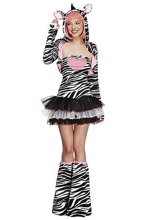 SmiffyS 22798M Disfraz Fever De Cebra Con Vestido Tutú Y Tirantes Transparentes Desmontables Chaqueta Con Capucha