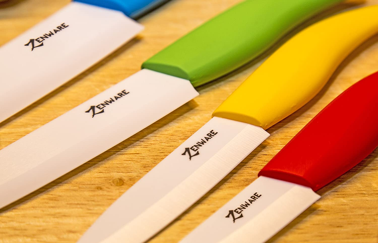 Ceramic and metal knives is the material they are made from ceramic - Amazon Com Zenware 9 Piece Multi Color Ceramic Cutlery Kitchen Knives With Fruit Peeler Knife Set Kitchen Dining