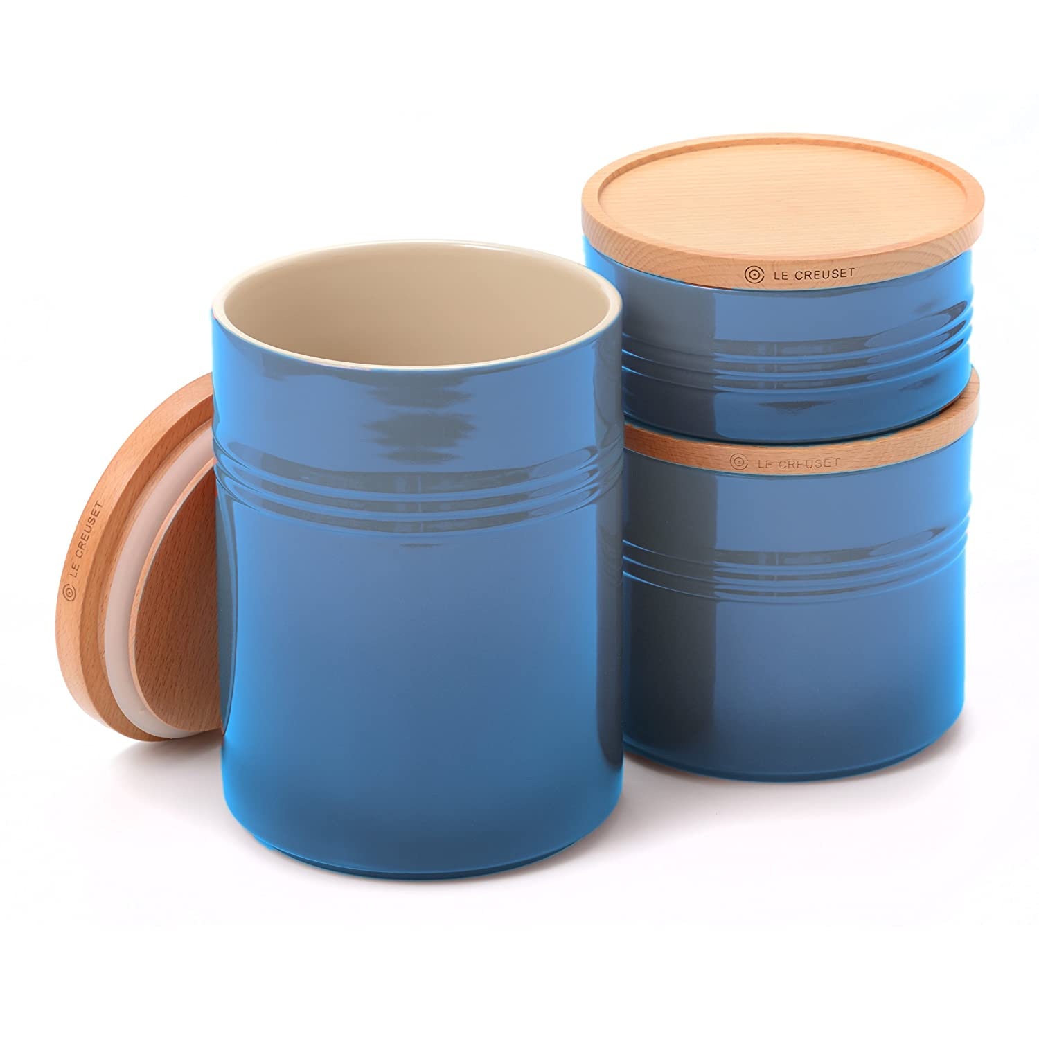 Amazon.com: Le Creuset Flame Stoneware 3 Piece Canister with Wooden ...