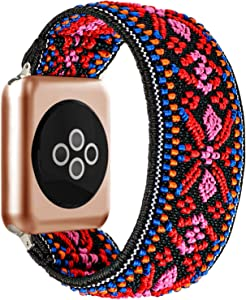 BMBEAR Stretchy Strap Loop Compatible with Apple Watch Band 42mm 44mm iWatch Series 6/5/4/3/2/1 Boho Red