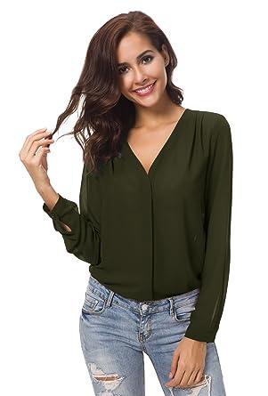 1278be306a9 Women s V Neck Long Sleeve Ruffled Shoulder Solid Chiffon Blouse (Medium