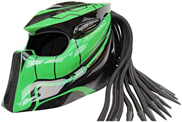 Casco para motocicleta Predator X1Wildspeed, con terminaciones de rastas, fabricado por XFF