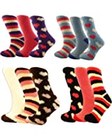 4 PAIRS LADIES FLUFFY WARM & COSY EVENING BED LOUNGE SOCKS (Assorted)