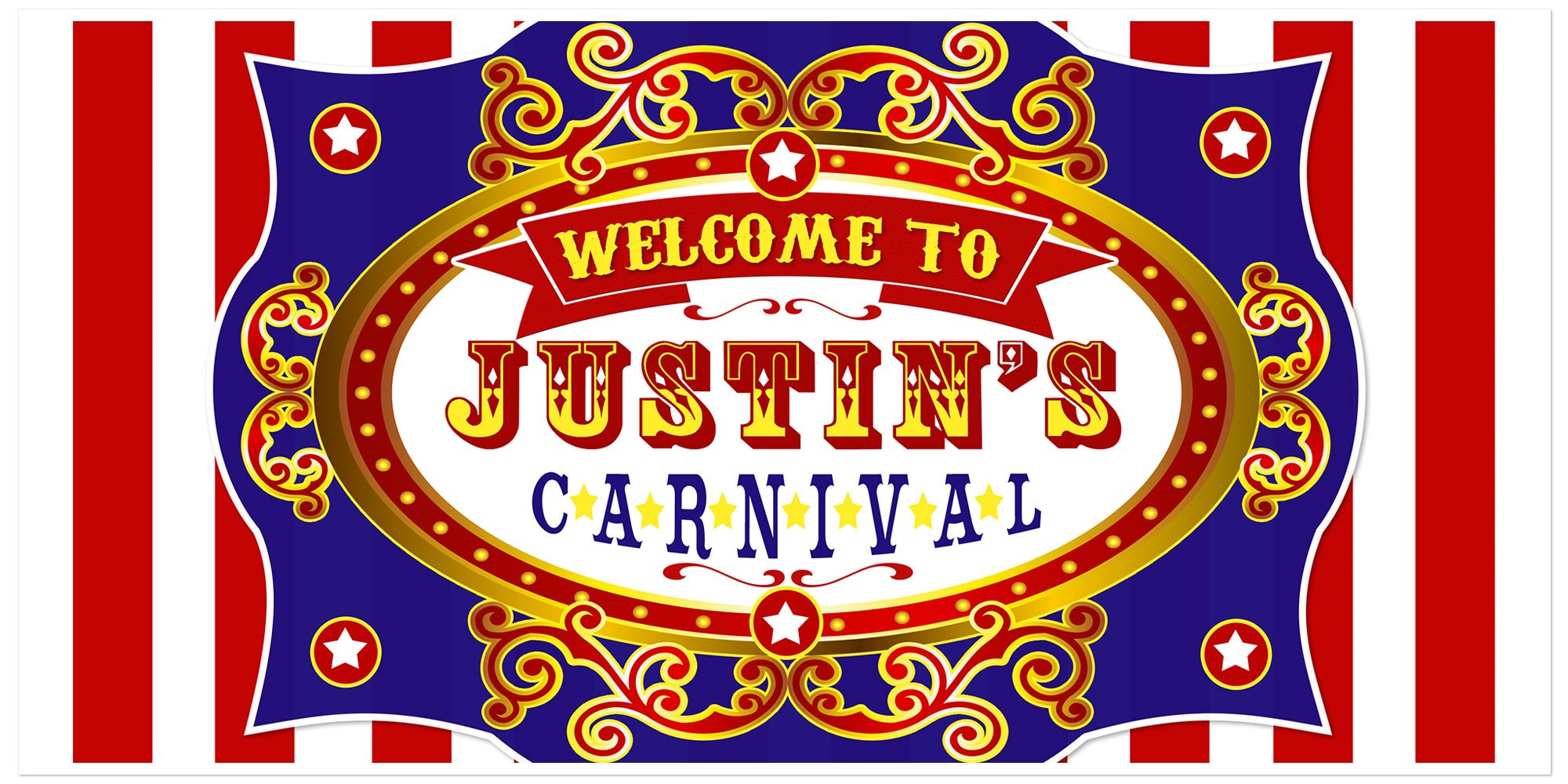 Carnival Birthday Banner Personalized Party Backdrop Decoration by Paper Blast