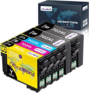 OfficeWorld Remanufactured Ink Cartridege Replacement for Epson 702 XL 702XL Used for Workforce Pro WF-3720 WF-3730 WF-3733 All-in-One Printer, 5 Pack (2 Black, 1 Cyan, 1 Magenta, 1 Yellow)