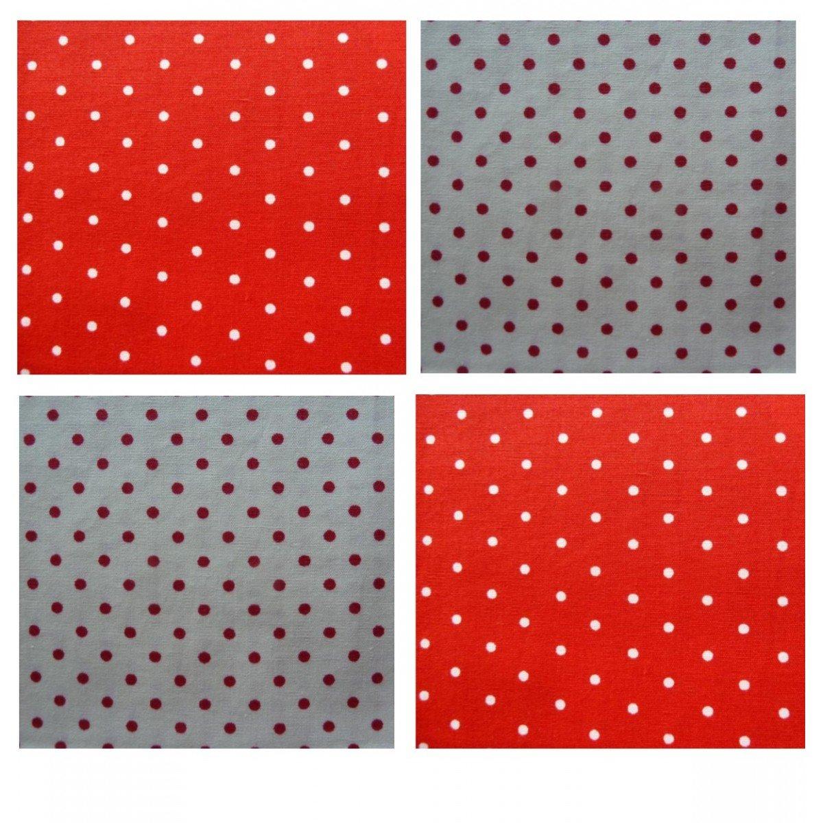 Unique Boutique - 4er Set: Vier Stofftaschentücher weiß rot gepunktet Damen Herren Kinder Stofftuch Punkte