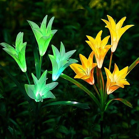 2 unidades de luces LED de lirio solar decorativas para exteriores, para jardín, patio, patio, camino, blanco + amarillo: Amazon.es: Iluminación
