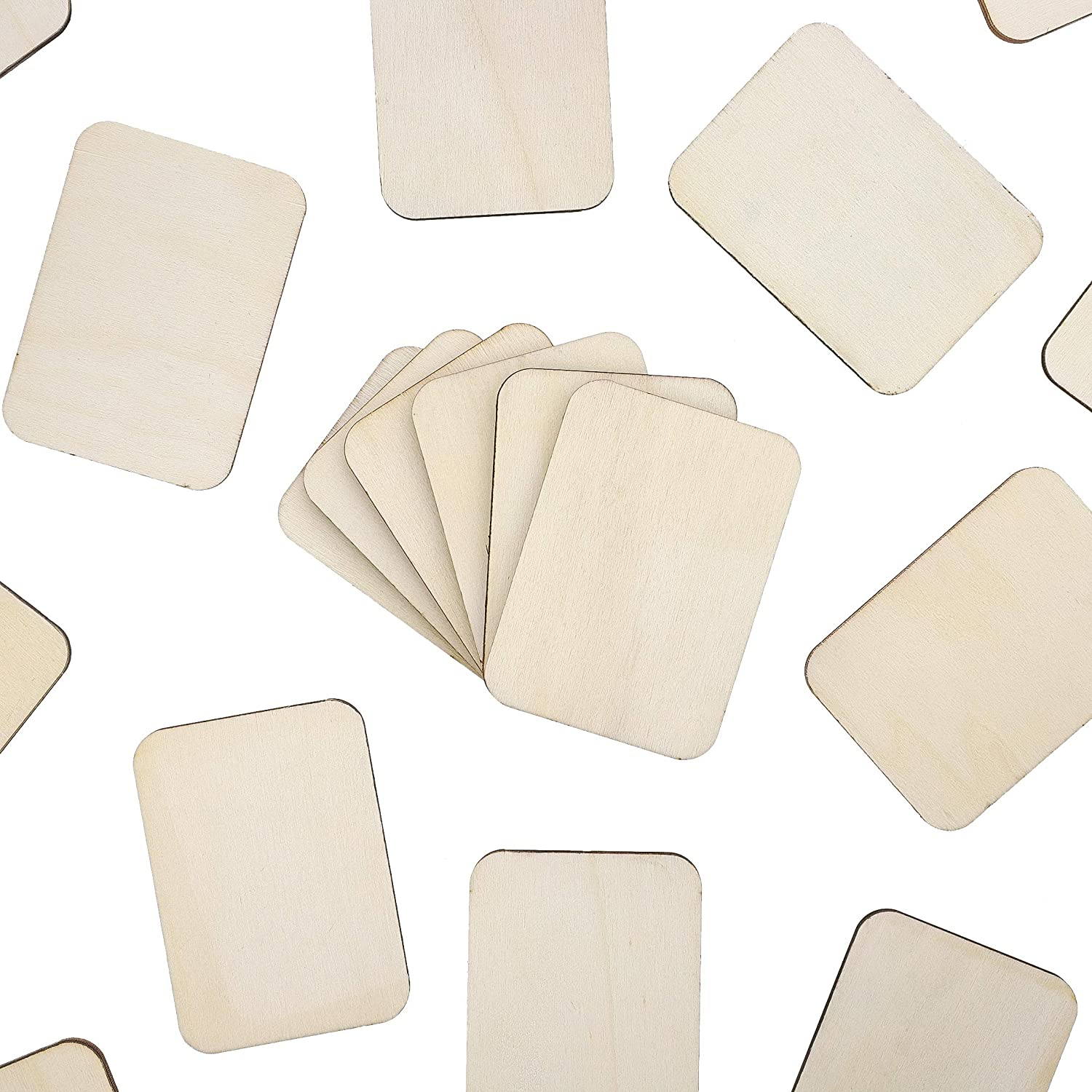 2 x 1.5 Inches Bright Creations 120-Pack Unfinished Wood Square Cutout Pieces for DIY Crafts