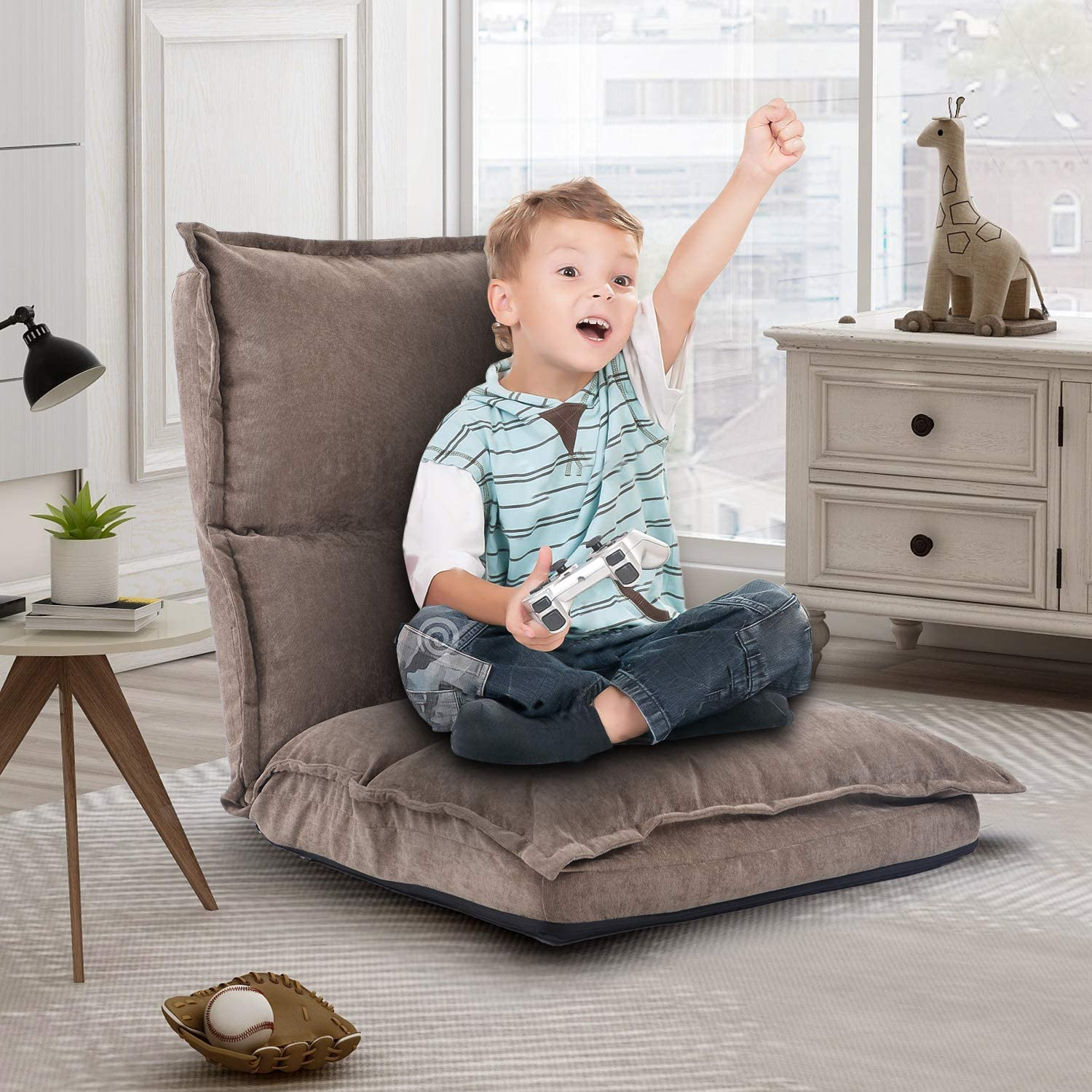 Floor Gaming Chair For Kids Fabric Upholstered Folding Chair Lazy Sofa Adjustable Floor Video Game Chair Light Brown Kitchen Dining