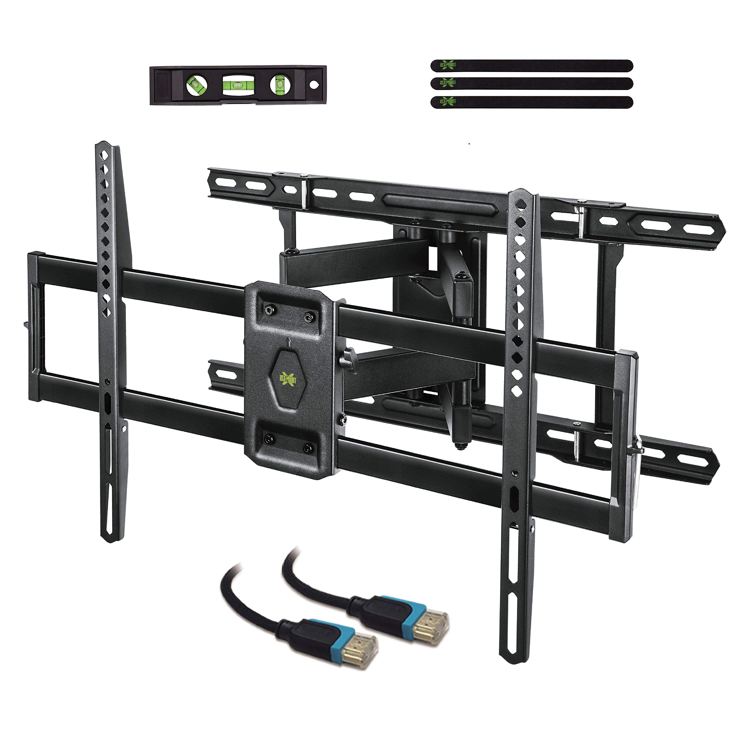 USX MOUNT Full Motion TV Mount Wall Bracket with Articulating Arms for 42''-80'' Flat Screen LED LCD 4K TV, Tilt Swivel TV Mounts with Max VESA 600x400mm, Weight Capacity 99lbs Up to 24'' Wood Stud