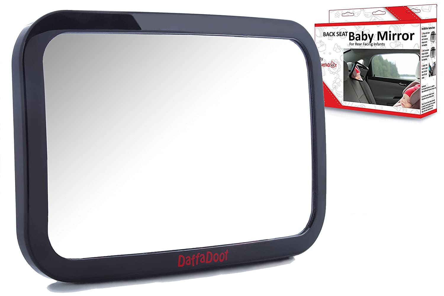 Baby Car Mirror - Crystal Clear Rear Facing Baby Mirror - Safety Certified & Crash Tested - Shatterproof Back Seat Baby Mirror - Gorgeous Gift Box DaffaDoot MIR42241