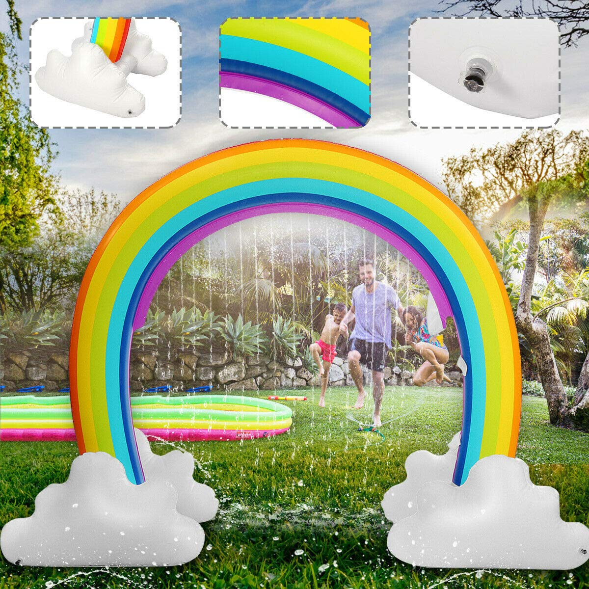 MerryXD Rainbow Sprinkler,Giant Water Inflatable Arch Sprinkler Outdoor Summer Toys for Kids