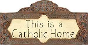 """Elysian Gift Shop This is a Catholic Home Welcome Sign Over The Door or entryway 10"""" W x 5.25"""" H Hanging Wall Plaque with Raised Retro Vintage Look Details"""
