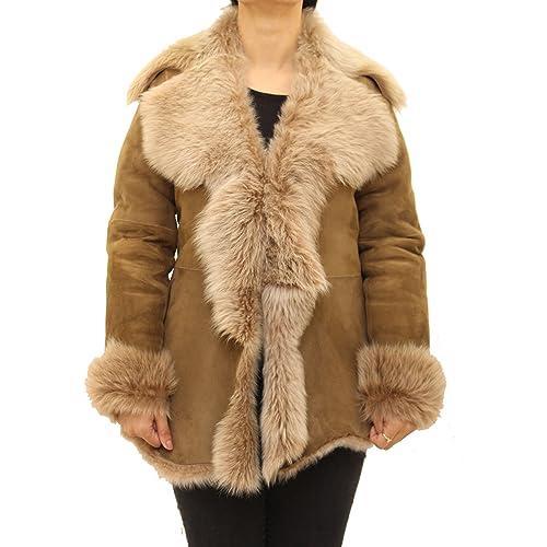 A to Z Leather - Abrigo - Cuello ala - Manga Larga - para mujer