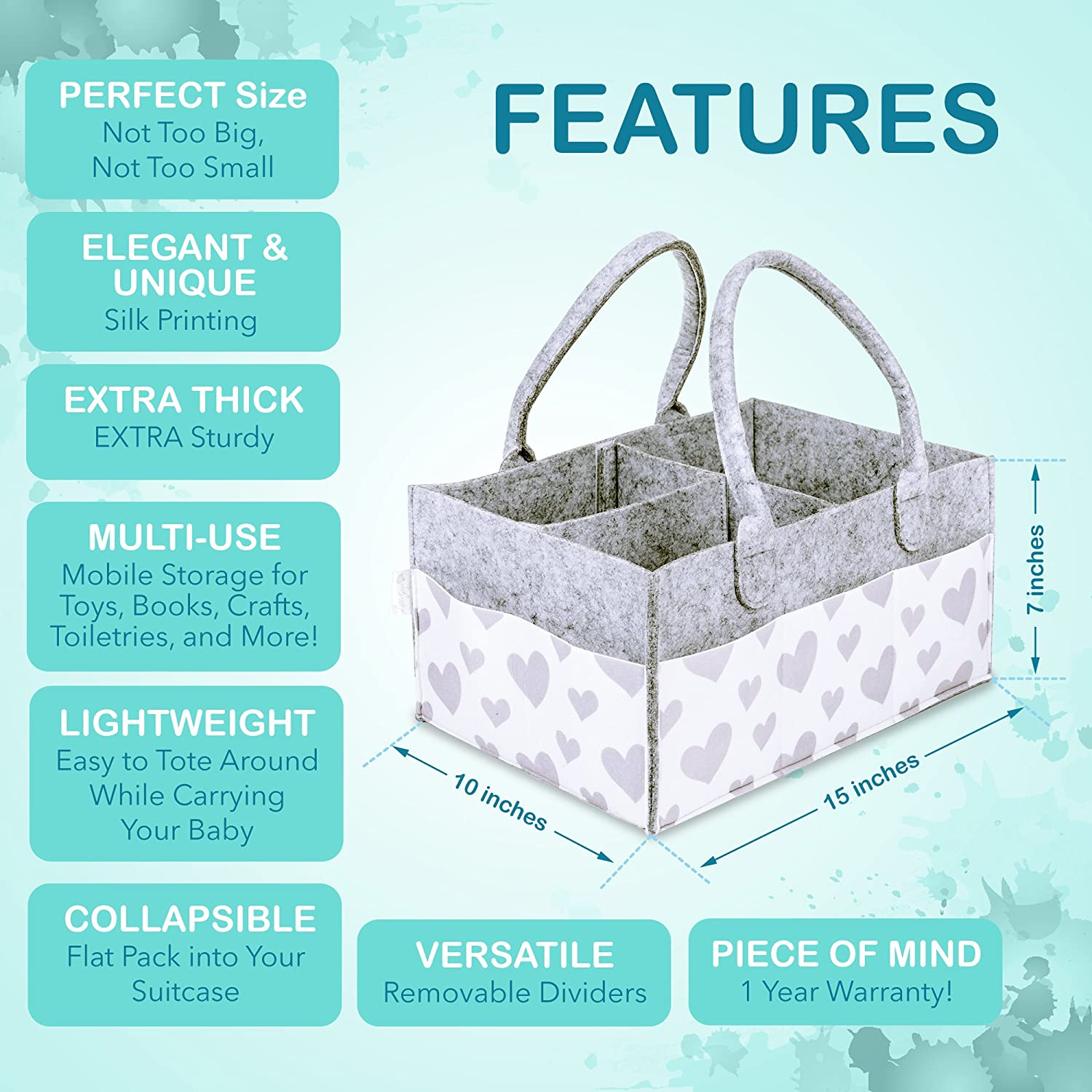 Baby Diaper Caddy and Toy Storage Basket | Portable Diaper Bag for ...