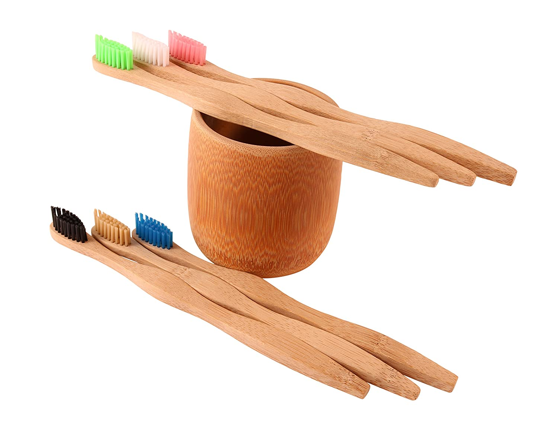 Paquete de seis cepillos de dientes de bambú suave con soporte para cepillo de dientes de bambú tallado de forma natural, biodegradable, respetuoso con el ...