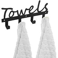 MyGift Black Metal TOWELS Design Wall Mounted Kitchen/Bathroom Storage Organiser Rack w/ 4 Hooks