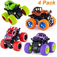 Mqfit 4pc 4WD Mini Monster Trucks Friction Powered Cars for Kids Big Rubber Tires Baby Boys Super Cars Blaze Truck Children Gift Toys(Set of 4)