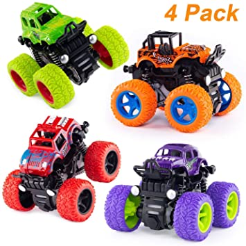 Techno Buzz Deal 4pc 4WD Mini Monster Trucks Friction Powered Cars for Kids Big Rubber Tires…