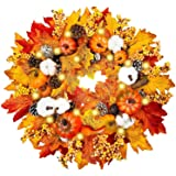 """TURNMEON 20"""" Prelit Fall Wreath for Front Door with 20 Warm Light Pumpkin Maples Leaf Pine Cone Berry Battery Operated…"""