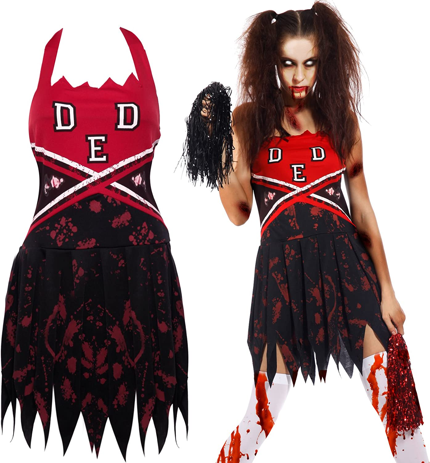 Adult Zombie College Student Girl Costume Ladies Halloween Fancy Dress S-L