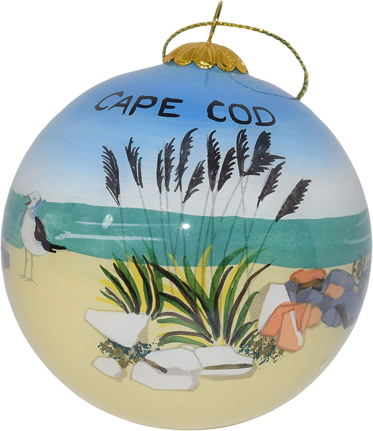 Art Studio Company Hand Painted Glass Christmas Ornament - Beach & Bird Cape Cod