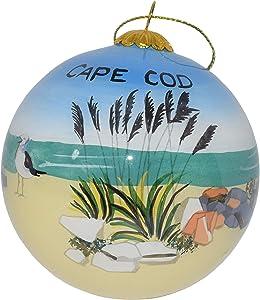 Art Studio Company Hand Painted Glass Christmas Ornament - Beach & Bird Cape Cod