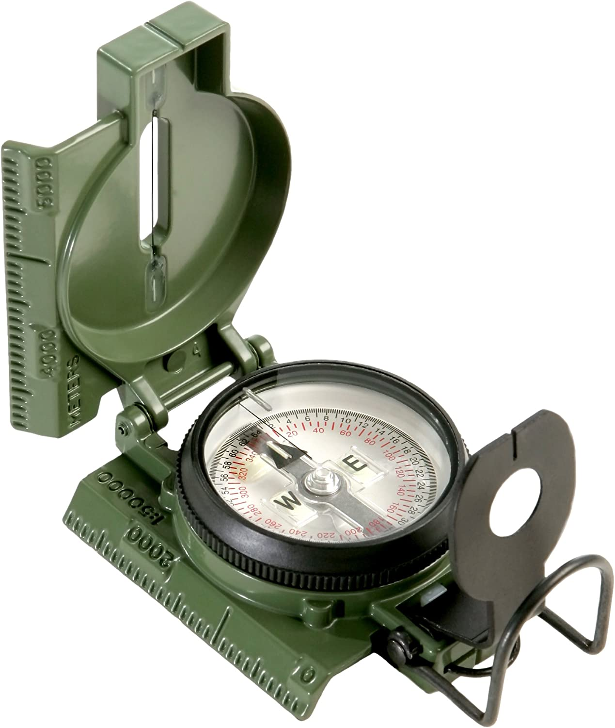 This is an image of the Camengga heavy-duty compass in green color, with cover, black-colored dials.
