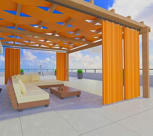 Toldos exteriores con agujeros en la parte de Arriba y los ganchos de metal Tejido antimoho repelente al agua Toldo de tela de algodón resinado para terrazas Gazebos Balcon (Naranja <290>cm x