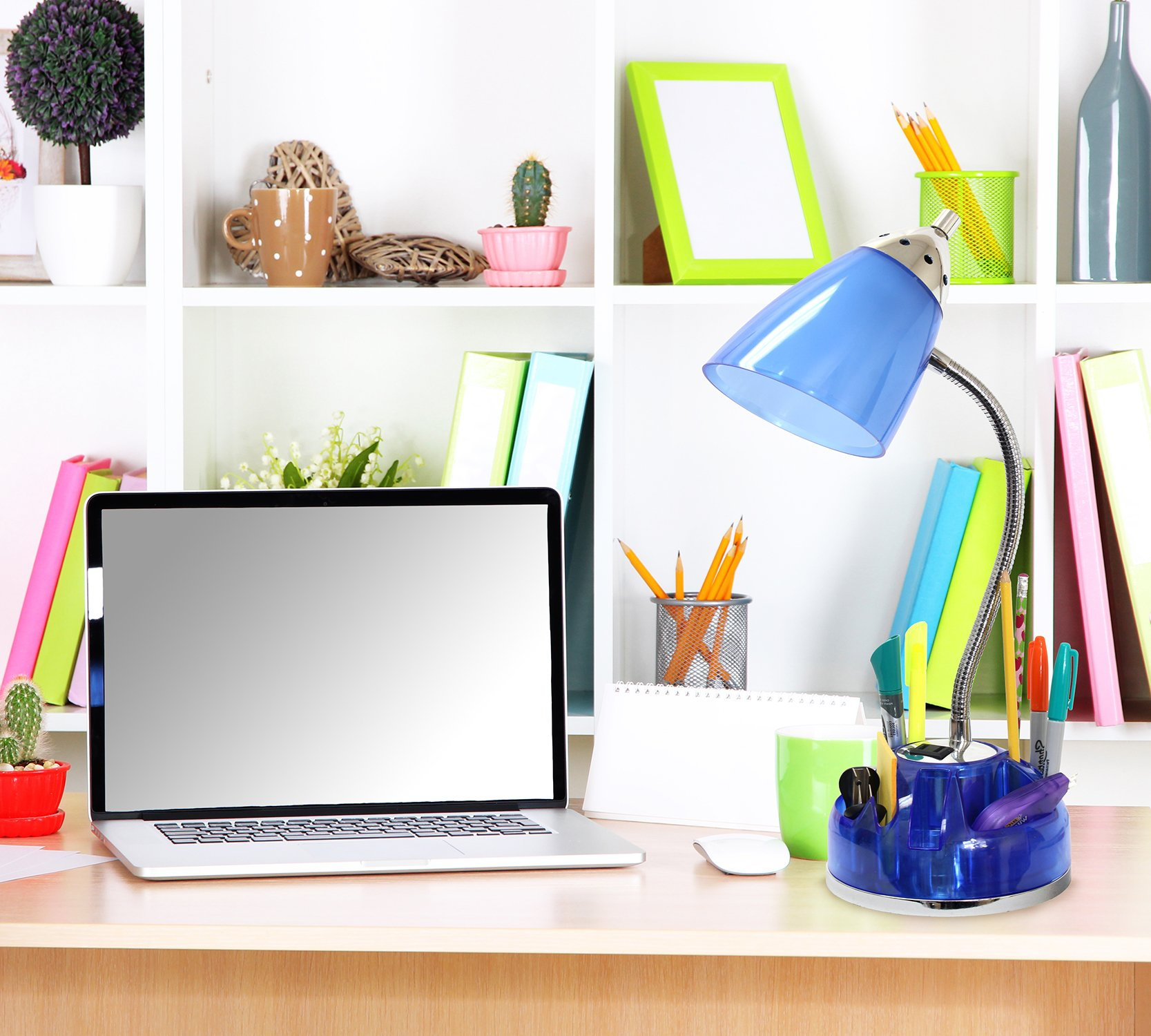 Limelights LD1015-CBL Organizer Desk Lamp with Charging Outlet Lazy Susan Base, Clear Blue by Limelights (Image #4)
