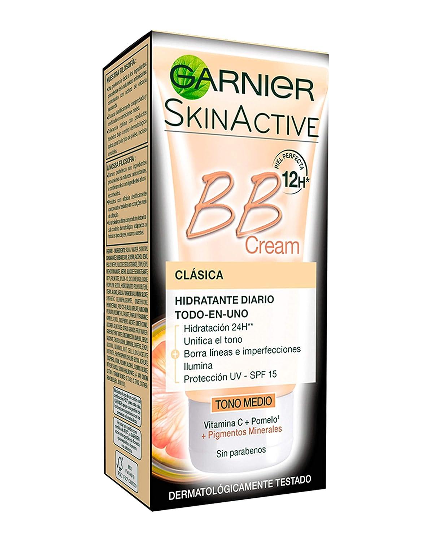 BB Cream Garnier clásica tono medio con vitamina C y IP15 para pieles normales.