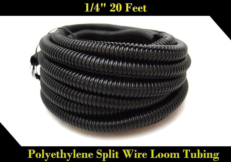 20 FT 1/4' INCH Split Loom Tubing Wire Conduit Hose Cover Auto Home Marine BlackMarine Black Nippon America LM-BK-14