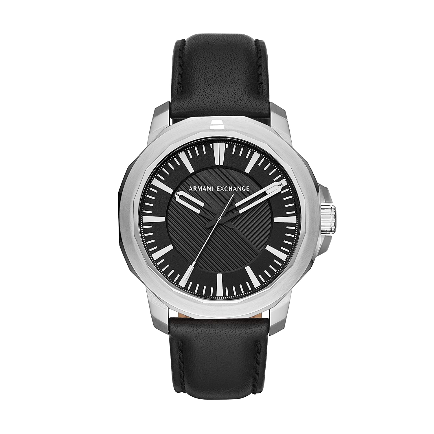 4d0fa166d2ac Amazon.com  Armani Exchange Men s Stainless Steel Analog-Quartz Watch with  Leather Calfskin Strap