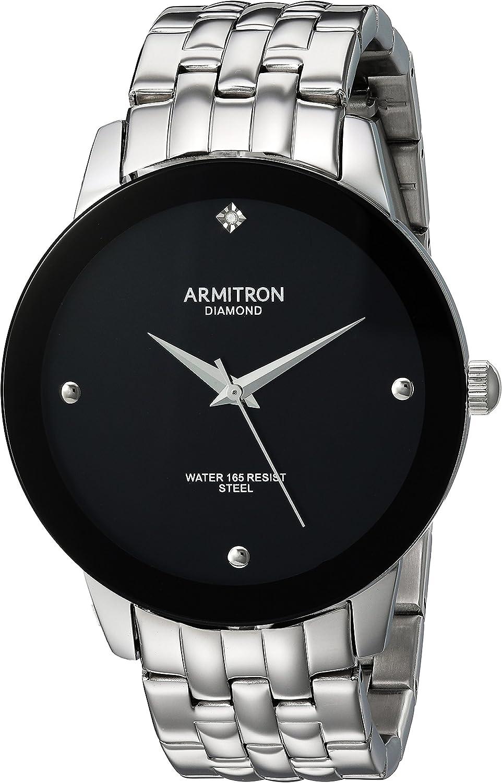 Armitron Reloj analógico para Hombre de Cuarzo japonés con Correa en Acero Inoxidable 20/4952BKSV