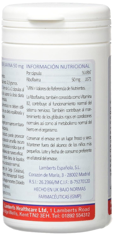 Lamberts Riboflavina 50mg (Vitamina B2) - 100 Cápsulas: Amazon.es: Salud y cuidado personal