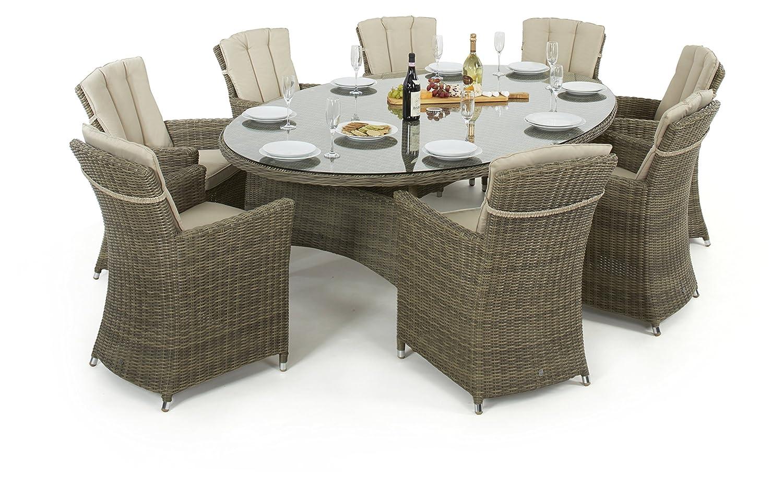maze rattan winchester oval esstisch mit 8 st hlen. Black Bedroom Furniture Sets. Home Design Ideas