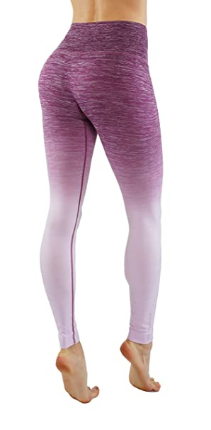 f7193749a8 Homma Stretch Moisture Whicking Women's Ombre Yoga Pants Running Workout  Leggings (Small, Berry+