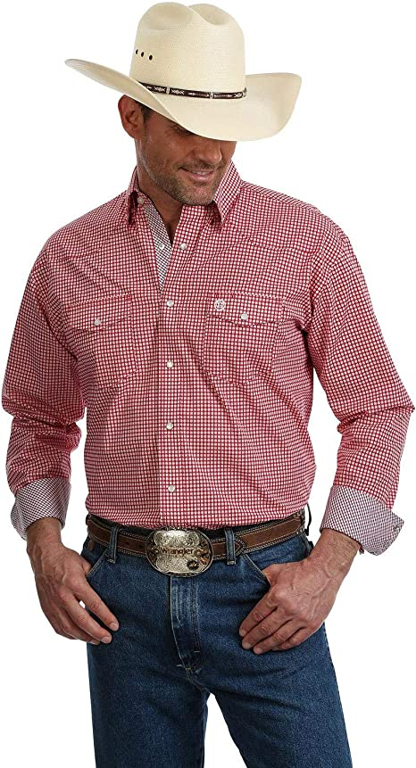 Wrangler Men/'s George Strait By Solid Long Sleeve Button Down Western Shirt