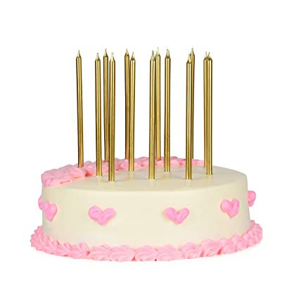 SkyQor Birthday Candles Gold Metallic Long And Thin