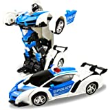 FIGROL Transform Car Robot, Robot Deformation Car Model Toy for Children, Transforming Robot Remote Control Car with One Button Transformation & Realistic Engine Sounds & 360 Speed Drifting 1:18 Scale