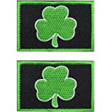EJG 2 pieces Subdued Irish Clover Tactical Patch 3x2 Military Path With Morale Patch Hook & Loop (Black and green leaves)