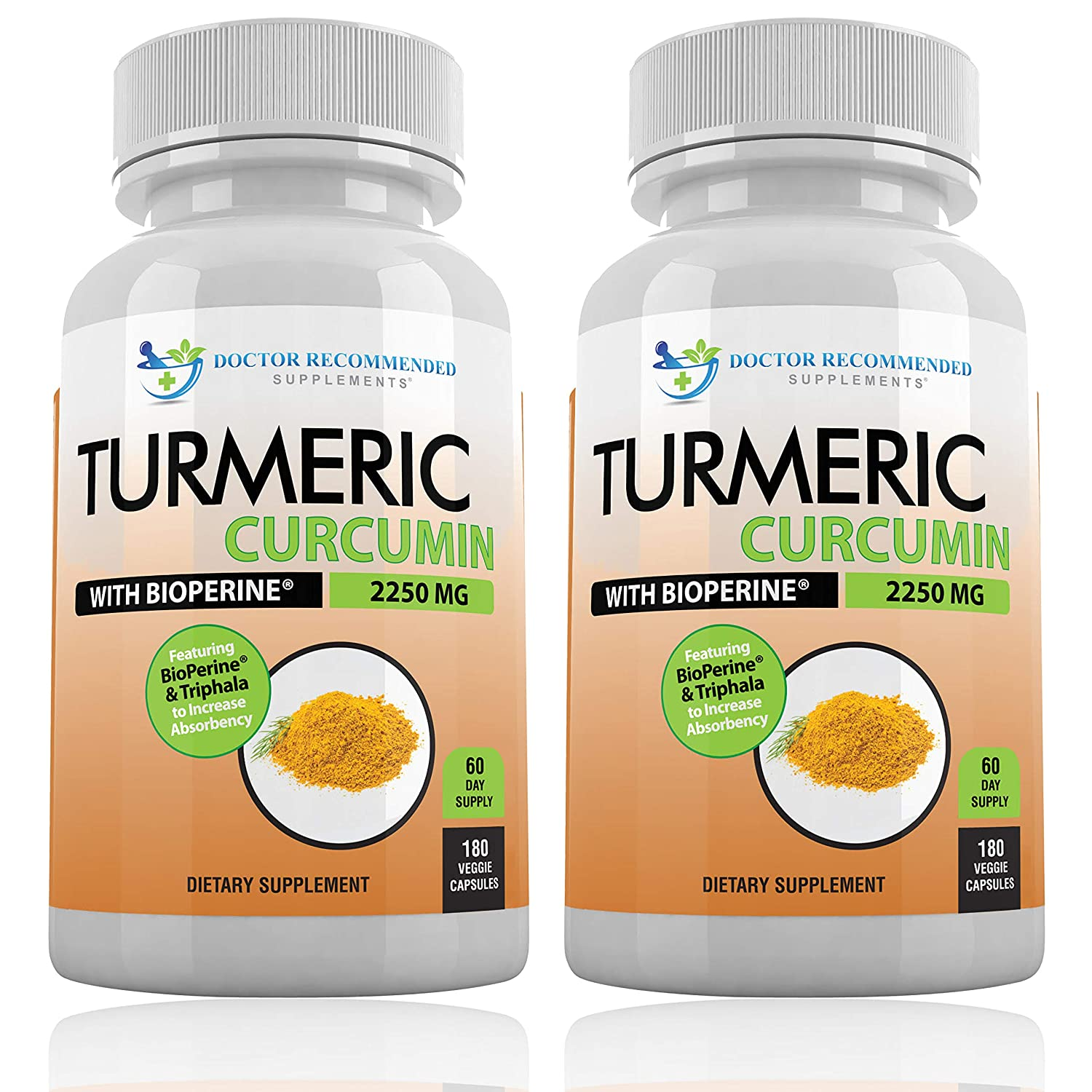 Turmeric Curcumin with Bioperine – 360 Veggie Caps – 2250mg 95 Curcuminoids Highest Max Potency with Black Pepper for Anti-Inflammatory Joint Pain Relief Pills – 100 Organic Supplement with Triphala