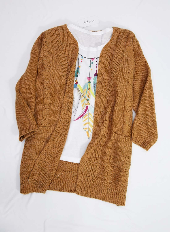Futurino Women's Cable Twist School Wear Boyfriend Pocket Open Front Cardigan (One Size, Brown) by Futurino (Image #2)